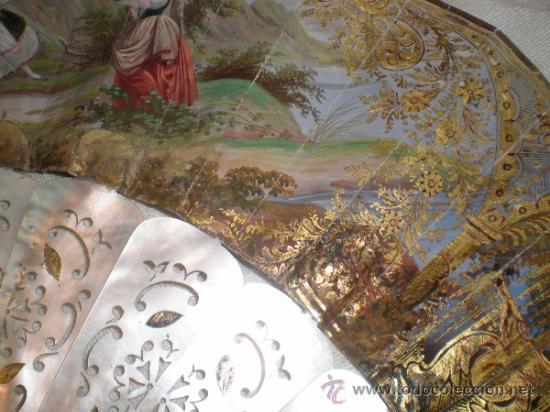 Antigüedades: abanico de nacar isalelino madreperla - Foto 12 - 34126746