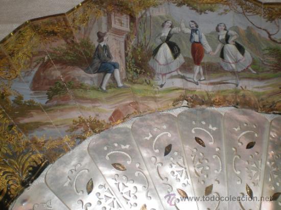 Antigüedades: abanico de nacar isalelino madreperla - Foto 4 - 34126746