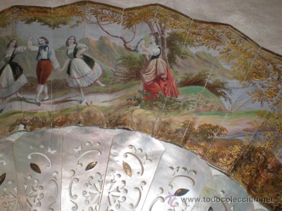 Antigüedades: abanico de nacar isalelino madreperla - Foto 3 - 34126746