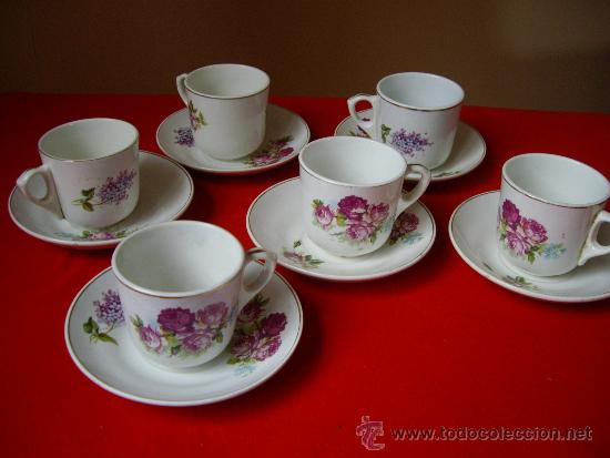 JUEGO DE SEIS TAZAS DE CAFE CON SUS PLATOS ( PICKMAN - SEVILLA ) (Antigüedades - Porcelanas y Cerámicas - La Cartuja Pickman)