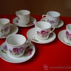 Antigüedades: JUEGO DE SEIS TAZAS DE CAFE CON SUS PLATOS ( PICKMAN - SEVILLA ). Lote 34148048