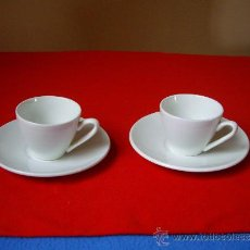 Antigüedades: DOS TAZAS DE CAFE CON SU PLATO ( SELLO DE IT SANTANDER ). Lote 34148270