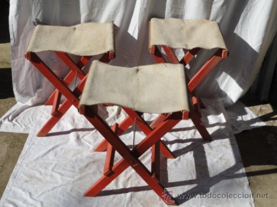 LOTE DE 3 ANTIGUAS SILLAS DE CAMPING. (Antigüedades - Muebles Antiguos - Sillas Antiguas)