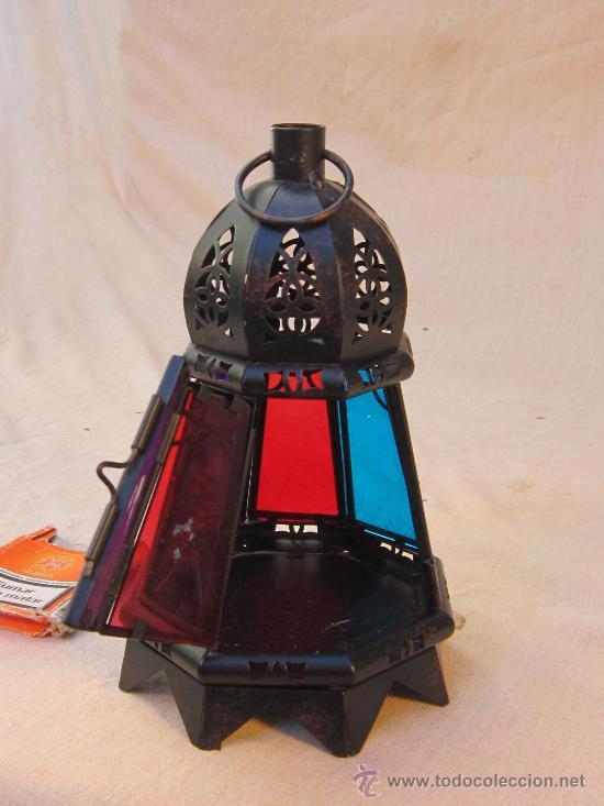 Antigüedades: FAROL DE METAL CON CRISTALES - Foto 3 - 34175610