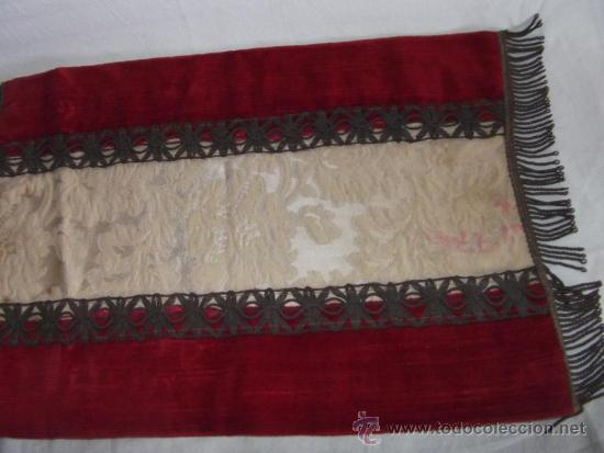 Antigüedades: antiguo mantel o tapete religioso bordado de principios de siglo, mide 36 cm x 24 cm - Foto 4 - 34214975