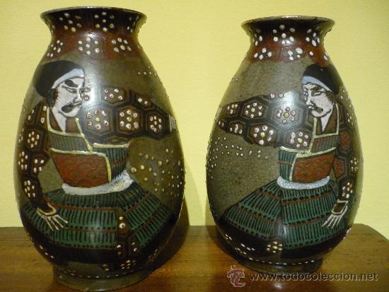 PAREJA DE JARRONES SATSUMA .JAPON. PRINCIPIOS SIGLO XX. FIRMADOS. (Antigüedades - Porcelana y Cerámica - Japón)