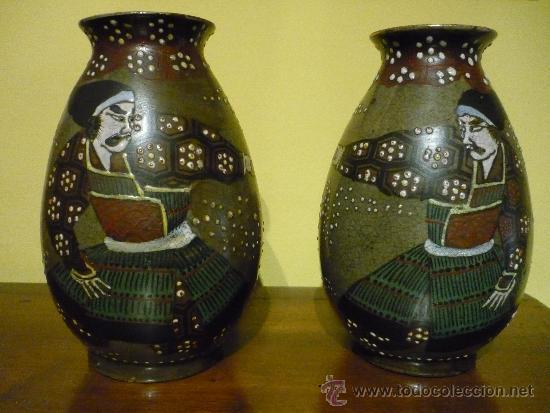 Antigüedades: PAREJA DE JARRONES SATSUMA .JAPON. PRINCIPIOS SIGLO XX. FIRMADOS. - Foto 2 - 34223626