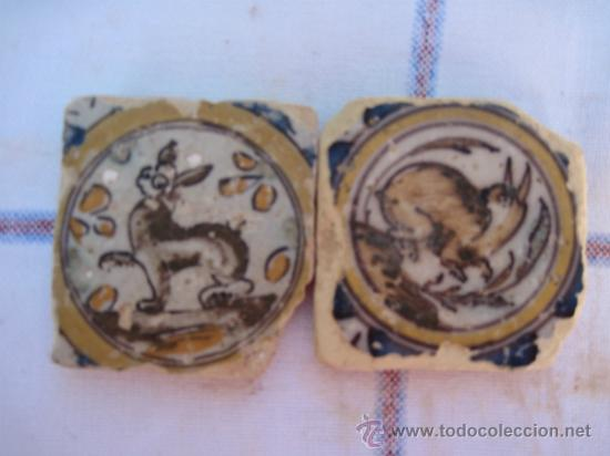 DOS AZULEJOS ( OLAMBRILLAS ) ANTIGUOS DE TRIANA -SIGLO XVIII. AZULEJO. (Antigüedades - Porcelanas y Cerámicas - Triana)