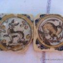 Antigüedades: DOS AZULEJOS ( OLAMBRILLAS ) ANTIGUOS DE TRIANA -SIGLO XVIII. AZULEJO.. Lote 34236731