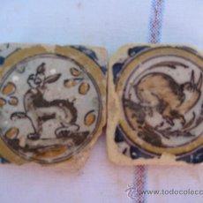 Antigüedades: LOTE 2 AZULEJOS ( OLAMBRILLAS ) ANTIGUOS DE TRIANA -SIGLO XVII-XVIII.. Lote 34236731