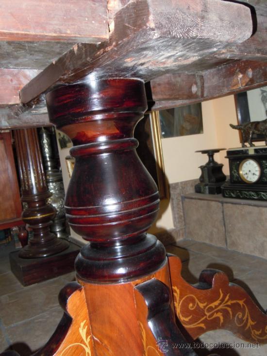 Antigüedades: MESA ANTIGUA TIPO VELADOR TARACEADA - Foto 12 - 34322821