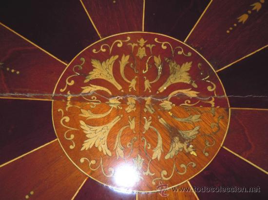 Antigüedades: MESA ANTIGUA TIPO VELADOR TARACEADA - Foto 9 - 34322821