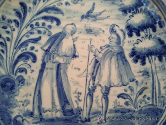 Antigüedades: Salvilla de cerámica de Talavera. Marcas de Talavera-Niveiro y escudo del Carmelo. - Foto 2 - 34241826