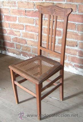 Silla antigua de madera con asiento rejilla y p comprar for Sillas comedor antiguas