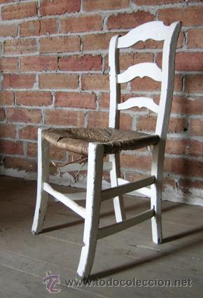 Silla antigua de madera con asiento enea pinta comprar - Restauracion de muebles de madera ...