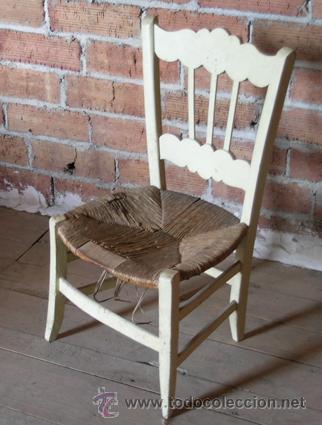 Silla antigua de madera con asiento enea pinta comprar sillas antiguas en todocoleccion - Restaurar sillas de madera ...