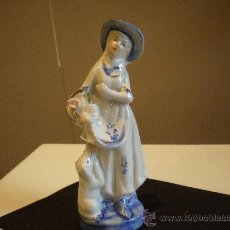 Antigüedades: FIGURA ROMANTICA CON PERRO. Lote 34260174