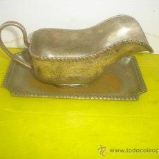 Antigüedades: SALSERA DE METAL PLATEADO. Lote 34271594