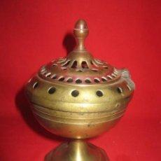 Antigüedades: INCENSARIO EN BRONCE CON TAPA.. Lote 27395442