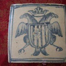 Antigüedades: AZULEJO ARAGONES CON AGUILA BICEFALA. Lote 34290734