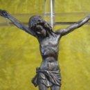 Antigüedades: CRISTO DE CALAMINA SOBRE CRUZ METACRILATO. Lote 34293054