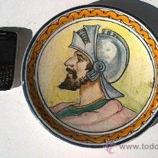 Antigüedades: PLATO ANTIGUO DE MENSAQUE RODRIGUEZ,PINTADO AMANO FABRICA DE TRIANA(ENTRE EL AÑO 1900/15). Lote 34295483