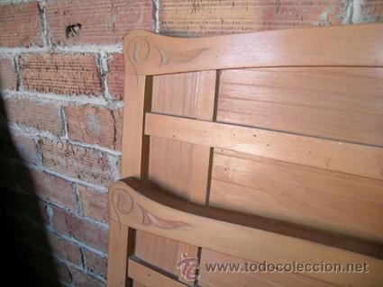 Antigüedades: Cama con cabecero y piecero | Mesita de noche. Madera de haya - Foto 3 - 34298352