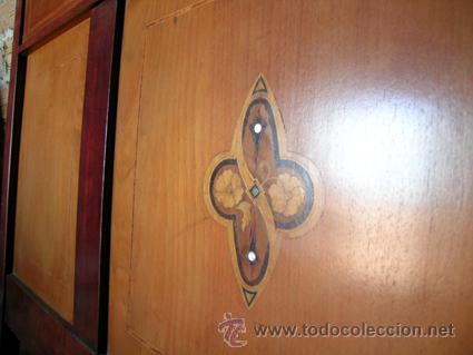 Antigüedades: Cama con cabecero y piecero cama. Madera de caoba. Marquetería - Foto 3 - 34298432