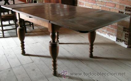 Antigüedades: Mesa madera nogal. Extensible - Foto 2 - 34298589