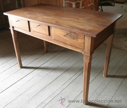 Escritorio madera nogal 3 cajones comprar escritorios antiguos en todocoleccion 34298643 - Escritorio cajones ...