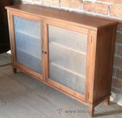 Mueble bajo consola puertas cristal madera no comprar for Muebles de cristal