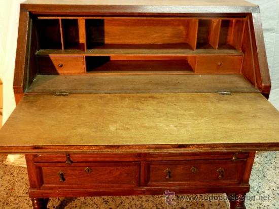 Antigüedades: Antiguo escritorio bargeño en roble.Principio siglo XX. 6cajones con cerradura en todos - Foto 3 - 34300941