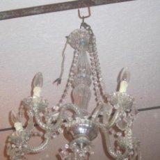 Antigüedades: LAMPARA DE CRISTAL DE CINCO BRAZOS DELICADAMENTE REALIZADA.. Lote 26675531
