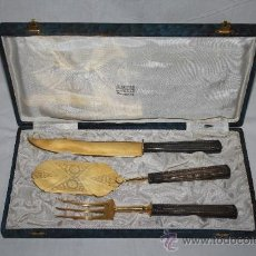 Antigüedades: BONITO SET DE SERVIR DE 3 PIEZAS - MANGOS METAL PLATEADO - PRIMER TERCIO DEL S.XX. Lote 34302320