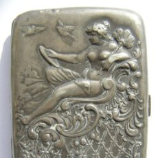 Antigüedades: EXTRAORDINARIA PITILLERA EN PLATA 800. ALEMANIA. REPOUSSÉ . JUGENDSTIL-ART NOUVEAU. Lote 34323566