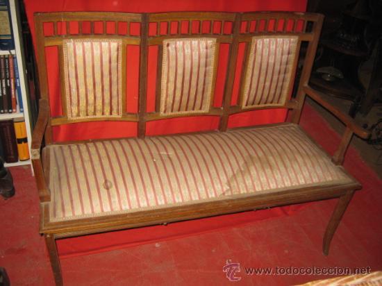 Precioso tresillo modernista en madera de robl comprar - Sofas antiguos de madera ...