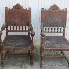 Antigüedades: PAREJA DE SILLONE EN NOGAL Y CUERO. Lote 34351090
