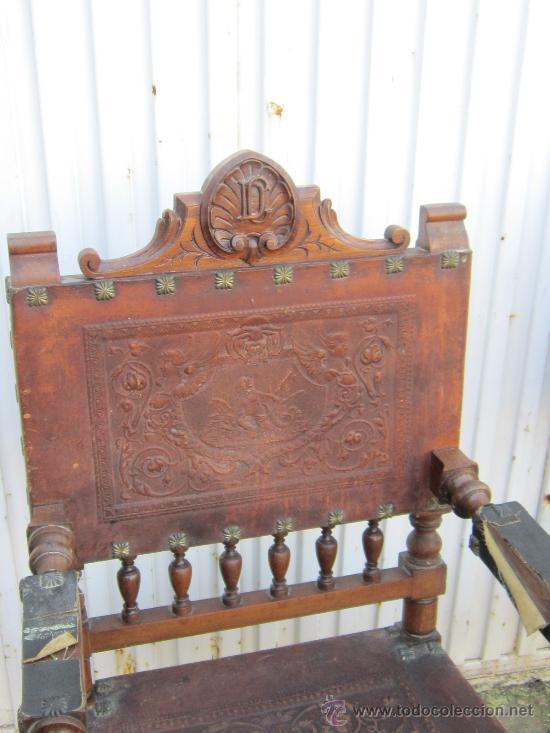 Antigüedades: PAREJA DE SILLONE EN NOGAL Y CUERO - Foto 2 - 34351090