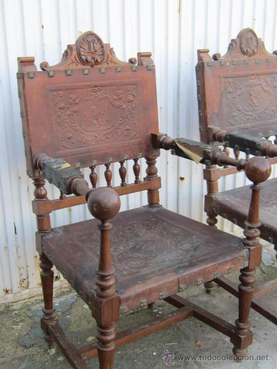 Antigüedades: PAREJA DE SILLONE EN NOGAL Y CUERO - Foto 3 - 34351090