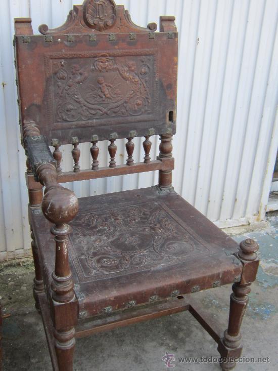 Antigüedades: PAREJA DE SILLONE EN NOGAL Y CUERO - Foto 4 - 34351090