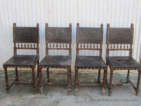 4 SILLAS EN NOGAL Y CUERO (Antigüedades - Muebles Antiguos - Sillas Antiguas)