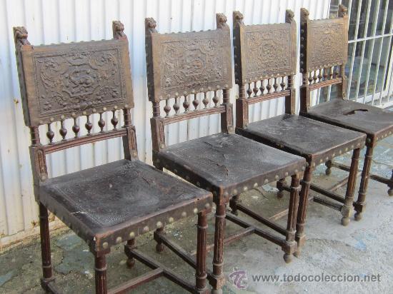 Antigüedades: 4 SILLAS EN NOGAL Y CUERO - Foto 2 - 36928769