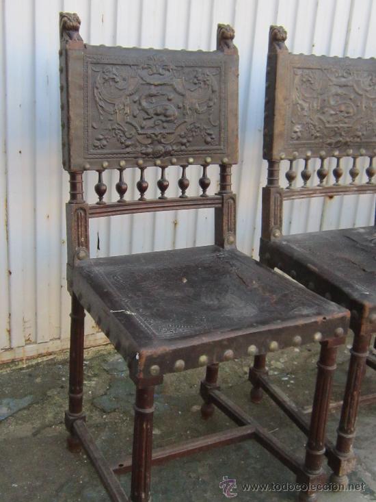 Antigüedades: 4 SILLAS EN NOGAL Y CUERO - Foto 4 - 36928769