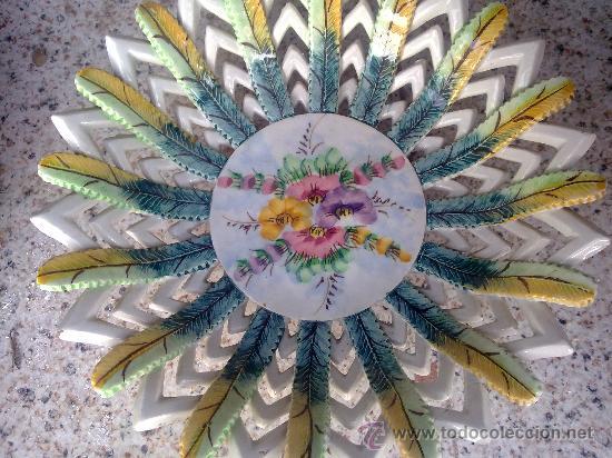 Antigüedades: antiguo frutero o centro de mesa de manises - Foto 3 - 34378271