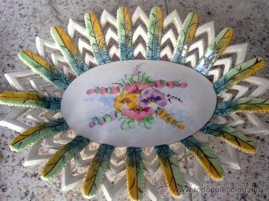 Antigüedades: antiguo frutero o centro de mesa de manises - Foto 3 - 34378383