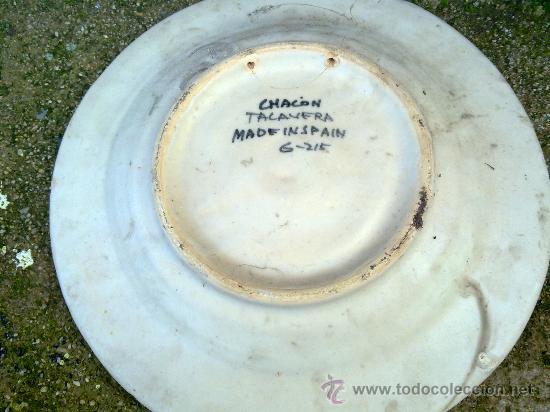 Antigüedades: antigua fuente de ceramica pintada a mano, talavera, chacon - Foto 3 - 34393266