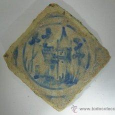 Antigüedades: OLAMBRILLA - PEQUEÑO AZULEJO - TRIANA - SEVILLA - CASTILLO PINTADO A MANO - SIGLO XIX. Lote 34427792