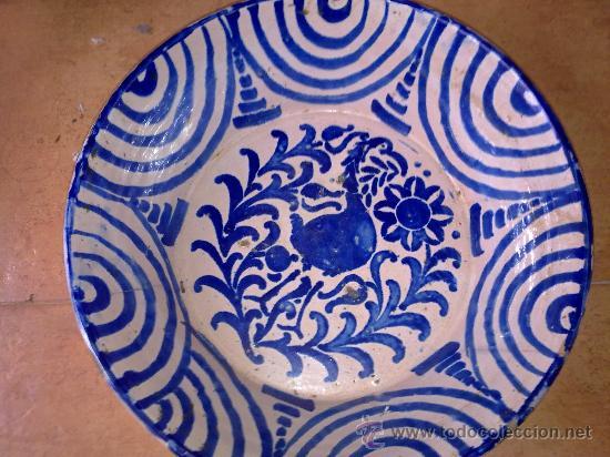 Antigüedades: antigua fuente de fajalauza, pintada a mano - Foto 2 - 34402925