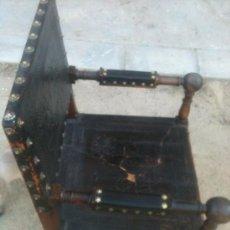 Antigüedades: ANTIGUO SILLON EN CUERO Y NOGAL ( DESPACHO). Lote 34435668