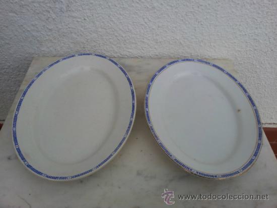 DOS BANDEJAS PARA SERVIR EN PORCELANA DE SAN JUAN DE AZNALFARACHE (Antigüedades - Porcelanas y Cerámicas - San Juan de Aznalfarache)